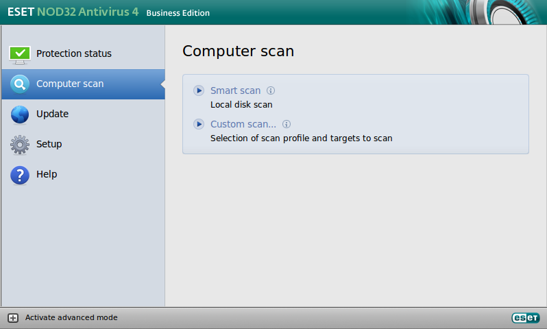 ESET NOD32 Antivirus Business Edition für Linux Desktop – Computer-Scan