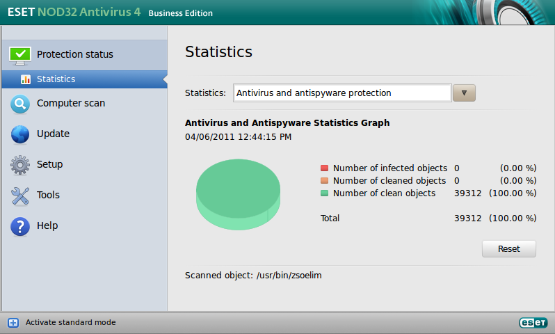 ESET NOD32 Antivirus Business Edition für Linux Desktop – Statistik
