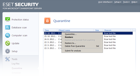 ESET Security for Microsoft SharePoint - Quarantine