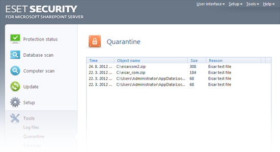ESET Security for Microsoft SharePoint Release Candidate - Quarantine