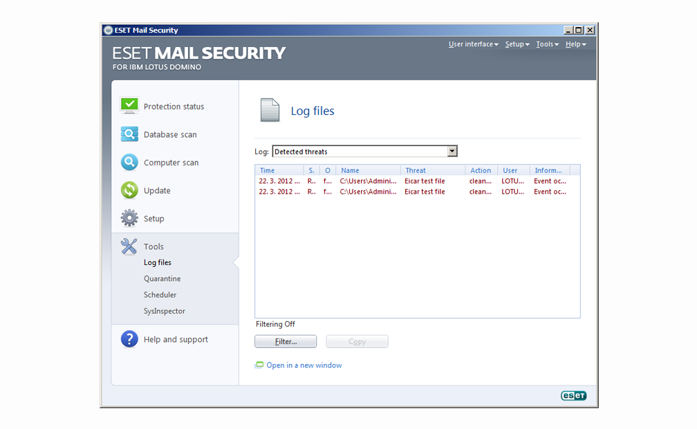 ESET Mail Security for IBM Lotus Domino - Tools - Log files