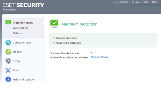 ESET Security for Kerio Beta - Protection status