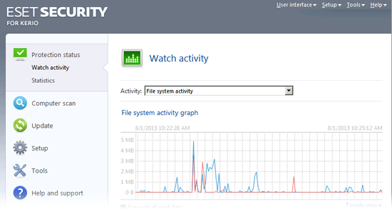 ESET Security for Kerio Beta - Watch activity