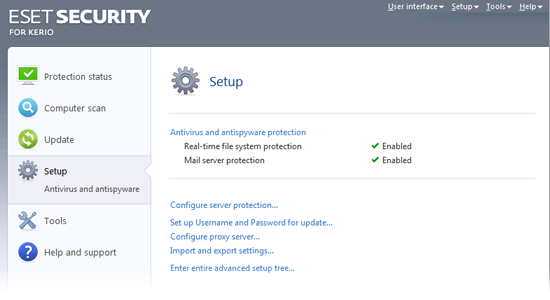 ESET Security for Kerio Beta - Setup