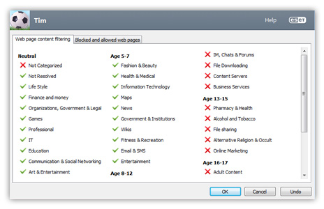 ESET Parental Control - Categories screenshot