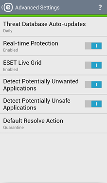 Mobile: ESET Mobile Security for Android - Advanced Setting
